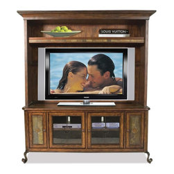 Riverside Furniture - Stone Forge TV Console w Deck in Tuscan Sun F - Console deck:. Tip restraining hardware included. One top adjustable shelf. Open area for Plasma or LCD TV. Wiring access holes in back panel. 67.5 in. W x 18.75 in. D x 46.75 in. H (125 lbs.)TV console: . Two outside doors each feature stone panel inserts and enclose two pull-out media storage trays mounted on ball-bearing extension guides. Media storage trays can hold a variety of CD, DVD discs or VHS cassettes. Two inside doors feature glass panel inserts with decorative metal overlay and enclose one removable center shelf and one fixed bottom panel. Base levelers. Wiring access holes in back panel. 66.5 in. W x 22.5 in. D x 28 in. H (199 lbs.). Made from mindi hardwood solid and mindi veneer. Assembly InstructionsA stylish addition to Riverside's Stone Forge collection, the media center gives you the flexibility of storage and function for your flat panel TV. If that isn't enough, the TV console has 2 media storage doors with pull-out organizers and 2 glass pane doors for electronic storage. Constructed of Mindi hardwood solids and Mindi veneers in Tuscan Sun finish, natural slate tile insets in the console media storage doors and an interplay of metal curved legs in antique bronze finish.