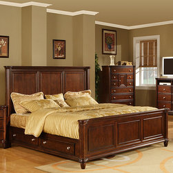 None - Hawthorne Queen Bed with 4-drawers - Material: Kiln dried solid poplar and birch veneersFinish: Brown cherry finishHeavily crowned and beveled for a traditional look