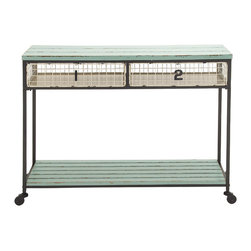 Extraordinarily designed Metal Wood Storage Console - Description: