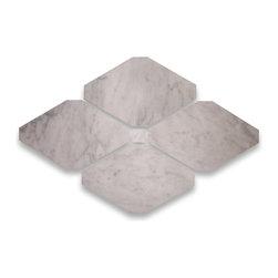 "Stone Center Corp - Carrara Marble Rhomboid Long Octagon Tile 4x8 Honed - Premium Carrara white marble long octagon tile 4"" x 8"" with 3/4"" dots"