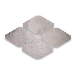 "Stone Center Corp - Carrara Marble Rhomboid Long Octagon Tile 4x8 Honed - Premium Carrara white marble long octagon tile 4"" x 8"" with 3/4"" dots"