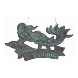 """Handcrafted Model Ships - Seaworn Cast Iron Mermaid Welcome Plaque 11"""" - Beach Living - This Seaworn Cast Iron Mermaid Welcome Plaque 11"""" is the perfect addition for any beach themed home. Handcrafted from cast iron, this mermaid plaque is durable, decorative and charming. If you are looking for unique beach coastal decor, use our rustic cast iron mermaid to show those who visit your home affinity for decorating a beach house."""
