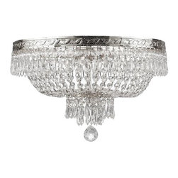 "The Gallery - French Empire Crystal Flush Ceiling Chandelier Lighting H 14"" W 17"" 4 Lights - 100% CRYSTAL FLUSH CEILING CHANDELIER, this chandelier is characteristic of the grand chandeliers which decorated the finest Chateaux and Palaces across Europe and reflects a time of class and elegance which is sure to lend a special atmosphere in every home.Assembly Required SIZE: W 17"" H 14"" 4 LIGHTS FINISH: SILVER SHIPPING: $21"