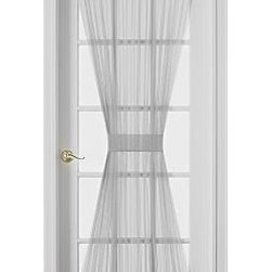 "Sheer Voile 72-Inch French Door Curtain Panel, White - 60"" wide"