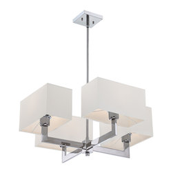 Quoizel - Quoizel Polished Chrome Mid. Chandeliers - SKU: REM5004C - The Remi Collection gives a nod to mod with its gleaming Chrome finish and angular arms. The square shades echo the geometric shape, which is artistically carried through on the square canopy.