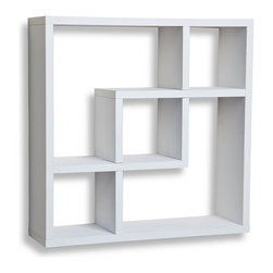 """Danya B. - Geometric Square  Wall Shelf with 5 Openings, White - This decorative floating wall shelf in geometric pattern has 5 openings in different configurations.  Clean and minimalistic in look, will frame your decorative items, photo frames, CD's, books and collectibles.  Made of laminated MDF.  Attaches to the wall with two keyhole perforations in the back, that secure to nails or screws showing no visible hardware.  Minor assembly required.  Measures 17.75 x 5 x 17"""".  Weight capacity: 16lbs. Made in China"""