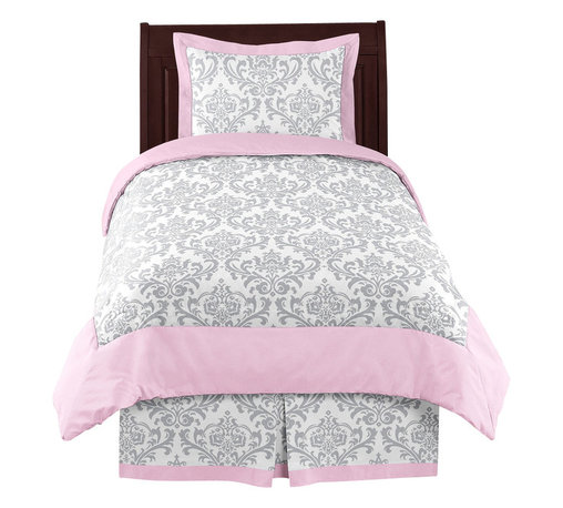 Sweet Jojo Designs - Elizabeth Pink and Gray Damask 4-Piece Twin Bedding Set by Sweet Jojo Designs - The Elizabeth Pink and Gray Damask 4-Piece Twin Bedding Set by Sweet Jojo Designs, along with the  bedding accessories.