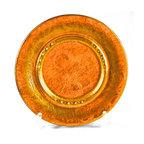 "Sascha Brastoff Pottery - Adonis Collection | Sascha Brastoff Pottery - Gold color, patterned ceramic trinket dish by Sascha Brastoff, marked ""Sascha B. (R) J-21"". Mid-century California decorative pottery.  11"" diameter.  Fine condition."