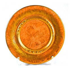 "Sascha Brastoff Pottery - Adonis Collection | Sascha Brastoff Pottery - Gold color, patterned ceramic trinket dish by Sascha Brastoff, marked ""Sascha B. (R) J-21"". Mid-century California decorative pottery.  11"" diameter.  Fine condition."
