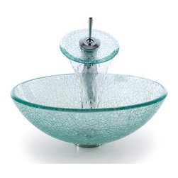 Kraus - Kraus C-GV-500-12mm-10G Broken Glass Vessel Sink and Waterfall Faucet - Add a touch of elegance to your bathroom with a glass sink combo from Kraus