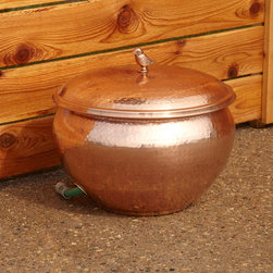 Hammered Polished Copper Hose Pot with Lid - Add charm to your garden and conceal an unsightly hose with this stunning Hammered Polished Copper Hose Pot with Lid. Handcrafted from solid copper, this hose pot and lid features a beautiful polished finish and is topped with a decorative bird handle.