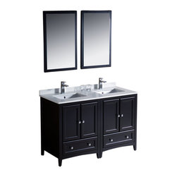 """Fresca - Oxford 48"""" Espresso Double Sink Vanity Cascata Brushed Nickel Faucet - Blending clean lines with classic wood, the Fresca Oxford Traditional Bathroom Vanity is a must-have for modern and traditional bathrooms alike.  The vanity frame itself features solid wood in a stunning espresso finish that?s sure to stand out in any bathroom and match all interiors.   Available in many different finishes and configurations."""