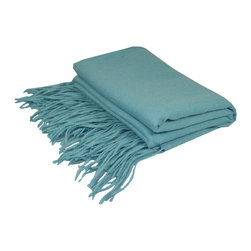 "Pur by Pur Cashmere - Signature Blend Throw Tiffany 50""x65"" With 6"" Fringe - Merino wool throw. 100% merino wool Dry clean only. Inner mongolia."