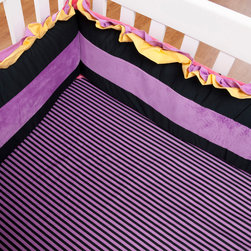 "Sassy Shaylee - Crib Sheet - Crib sheet available in the collections ""Purple & Black Stripe""  designer print fabric.  Offered in cotton fabric.  Also available in sets!"