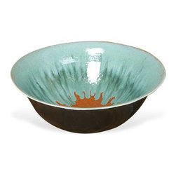Interlude Home - Interlude Home Vida Ceramic Bowl - This Interlude Home Ceramic Bowl is crafted from Ceramic and finished in Aqua and Orange and Graphite.  Overall size is:  21 in. W x  21 in. D x 10 in. H.
