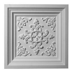 "Ekena Millwork - 24""W x 24""H Kinsley Ceiling Tile - Ceiling tiles are a unique way to add beauty to your home.  Several of our ceiling tiles are modeled after coffered ceiling designs, which allows you to get that coffered ceiling look without all the miter cuts typically required.  Rich details give deep shadow lines and an ornate look typically only found with wood products."