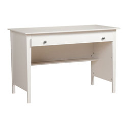 Prepac - Prepac Sonoma White Contemporary Computer Desk - The contemporary computer desk is perfect for your small office or dorm room. This desk's simple design includes a wide roll-out drawer that's ideal for storing pens, papers, other small items and even your laptop. Its large work surface can accommodate a computer, lamp and any books you need handy. The back of the desk is finished, giving it a tidy look no matter where it's placed in your room. This desk offers you value and practicality without compromising your budget.