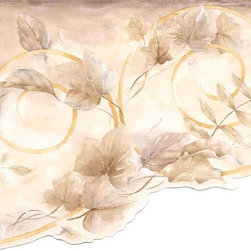 York Wallcoverings - Brown Leaf Scroll Wallpaper Border - Wallpaper borders bring color, character and detail to a room with exciting new look for your walls - easier and quicker than ever.