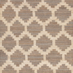 Jaipur Rugs - Flat Weave Moroccan Pattern Beige /Brown Hemp/Jute Handmade Rug - FZ02, 2x3 - Simple patterns in two color combinations are used to create this collection of chunky woven jute rugs. Hardy and durable these fringed rug enhance both rustic and modern home environments.