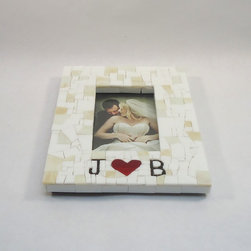 Mosaic Picture Frames - Custom handmade wedding picture frame with initials and heart by Live In Mosaics. This 4x6 frame is a great way to display a photo from your special day.