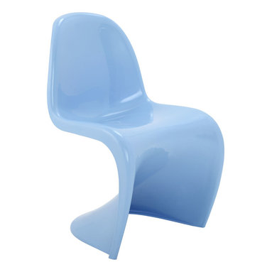 LexMod - Verner Panton Style Chair in Blue - Sleek and sturdy, rock back and forth in comfort with this injection molded marvel. Constructed from a single piece of strong ABS plastic, the s shaped Verner Panton Style Chair can be found in many fashionable settings. Perfect for dining areas in need of a little zest, the design is versatile, fun and lively. Surprisingly cushy, choose from a selection of vibrant colors that wont fade over time. The Panton Chair is also perfect for spaces short on room.