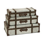 "IMAX CORPORATION - Theodric Galvanized Trunks - Set of 3 - Galvanized metal trunks make a great storage option and add an industrial style that looks great with a variety of decor. Set of 3 in various sizes measuring around 28""L x 16.75""W x 8.5""H each. Shop home furnishings, decor, and accessories from Posh Urban Furnishings. Beautiful, stylish furniture and decor that will brighten your home instantly. Shop modern, traditional, vintage, and world designs."