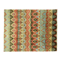 Manhattan Rugs - New Unique Multi-Color Ikat 8'x10' Veg Dyed Hand Knotted Persian Wool Rug H3639 - Ikat is a dying technique used all over the world�mostly in Asia�although the origin of this form of rug is unknown. It is one of the oldest known pattern. The design and patterns is unique in each region of nation; however, the colors are always diverse and vivid. The most commonly used designs are geometric, floral, or oriental, and sometimes tribal. The patterns can be repetitive horizontally or vertically.