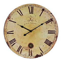 Modway - Vintage Wall Clock in Tan - Chart your course through world history with this antique-looking piece. Vintage Expression features a time-aged clock face that suffuses the twelve Roman numerals and black metal hands. Produced as an affordable work of distinction for quiet and serene settings, sail your way to a more enriching decor.