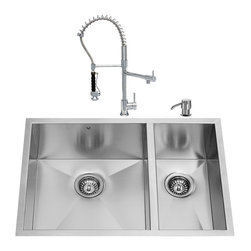 """VIGO Industries - VIGO All in One 29-inch Undermount Stainless Steel Double Bowl Kitchen Sink and - Enhance the look of your kitchen with a VIGO All in One Kitchen Set featuring a 29"""" Undermount kitchen sink, faucet, soap dispenser, two matching bottom grids and two sink strainers."""