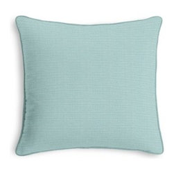 Aqua Structured Linen Custom Throw Pillow - Black and white photos, Louis XIV chairs, crown molding: classic is always classy. So it is with this long-time decorator's favorite: the Corded Throw Pillow. We love it in this crisp, smooth basketweave linen blend in a clean, serene robin's egg blue.
