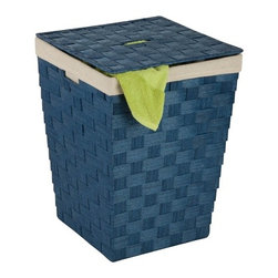 Woven Hamper With Liner, Blue - Dimensions:  15 in l x 15 in w x 20 in h /38.1 cm l x 38.1 cm w x 50.8 cm h