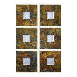 Uttermost - Gold Set 2 & Design Beveled Mirror Gold Copper Frame Sheeting Home Decor - Gold set of 2 modern & contemporary design beveled mirror with a gold and copper frame sheeting home accent decor