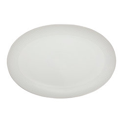 Rosenthal Studio - Tac 02 C-01 Porcelain Platter Plate - This Rosenthal collection comes in all white with platinum concentric circles around the edge of the plate. The platinum bands increase in thickness as they move away from the center of the plate, like rippling water. This collection will add a touch of minimalism to your table.
