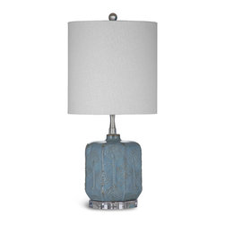Bassett Mirror - Bassett Mirror Vega Table Lamp - Add a touch of subtle color to your space with the tall and narrow Vega Table Lamp. Its blue ceramic is detailed with raised brass-colored bumps in a diamond pattern. The acrylic base, crystal ball finial and textured cylinder shade keep the look simple, but upscale. Requires 60 watts or less, bulbs not included.