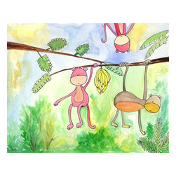 Oh How Cute Kids by Serena Bowman - Chimps in the Mist, Ready To Hang Canvas Kid's Wall Decor, 20 X 24 - Every kid is unique and special in their own way so why shouldn't their wall decor be so as well! With our extensive selection of canvas wall art for kids, from princesses to spaceships and cowboys to travel girls, we'll help you find that perfect piece for your special one.  Or fill the entire room with our imaginative art, every canvas is part of a coordinating series, an easy way to provide a complete and unified look for any room.
