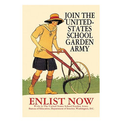 """Buyenlarge.com, Inc. - Join the United States School Garden Army- Paper Poster 20"""" x 30"""" - Children could work in gardens, too. A government program called the United States School Garden Army encouraged kids to feel that by gardening, they were fighting in France alongside the men in the trenches. Gardening, wrote President Wilson, """"is just as real and patriotic an effort as the building of ships or the firing of cannon."""" Designed by Edward Penfield (1866-1925) was prolific illustrator for many American publications like Harpers, Scribners, Colliers, and Saturday Evening Post."""