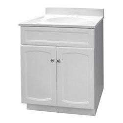 """Foremost - Foremost HEW2418 White Heartland Heartland Bathroom Vanity 25"""" With - Product Features:This model is a cabinet / base only - vanity top and sink are not includedConstructed of hardwood providing durability and aesthetic appealFeatures a full-sized cabinet with matching door providing ample storage spaceVanity is crated and shipped fully assembledSolid construction and assembly provides years of reliable performanceProduct Specifications:Overall Height: 34"""" (measured from ground level to highest point on vanity)Overall Width: 25"""" (measured from left most to right most part on vanity)Overall Depth: 19"""" (measured from back most to front most part on vanity)Mounting Style: FreestandingNumber of Drawers: 0Number of Doors: 2Number of Shelves: 0Configuration: Vanity base only - top and sink will need to be ordered separately"""