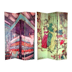 "Oriental Furniture - 6 ft. Tall Double Sided Princess Fairy Tale Room Divider - Children's storybook scenes come to life on the panels of this double-sided room divider. The front is a cheerful sketch by Arthur Rackham entitled  A Flushed and Boisterous Group, circa 1915 . It depicts Ebenezer Scrooge reliving joyous childhood memories from the Charles Dickens classic ""A Christmas Carol"". On the back is a mattress-eye-view illustration by Edmund Dulac of the princess from Hans Christian Andersen's timeless tale, ""The Princess the Pea"". These warm, stylized scenes from familiar stories will make the perfect addition to your living room, bedroom, or playroom. This three panel screen has different images on each side, as shown."