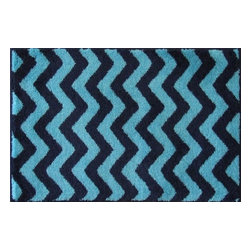 "Grund - Grund Premium Bathroom Comfort Mats-Chevron Series, Dark Blue, Large - Trendy and stylish!  The Chevron Series is one of our most popular lines that melts together today's most sought-after pattern with classic colors...a combination that is sure to start your day in style!  Machine tufted.  Comes in three colors and is available in three sizes:  21"" X 24"" small, 24"" X 36"" medium, 24"" X 60"" large."
