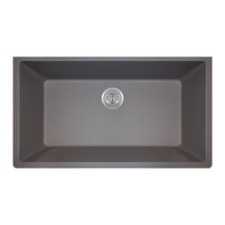 MR Direct - MR Direct 848 Trugranite Large Single Bowl, Silver, *No Strainer* - Our Granite sinks come in four beautiful colors to match any countertop; black, white, mocha, beige and silver. Our Granite line is made with 80% Quartzite and 20% Acrylic. They also have silver ions in the sink which kills 99% of bacteria on contact. Granite sinks are the most durable option for a kitchen sinks. They are extremely scratch resistant, can withstand heat up to 550 Degrees and are unaffected by household acids and cleaners. The granite is also completely stain resistant. The acrylic acts as a natural sound dampener making the sinks very quiet. Our Granite sinks are covered by a limited lifetime warranty. Each sink come with a cardboard cutout template and mounting hardware.