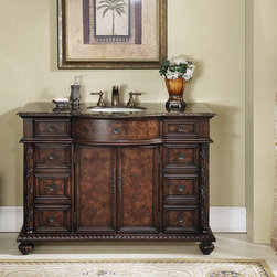 "48"" Amelia Single Sink Vanity With Baltic Brown Granite Top - As opulent as it is functional, the 48"" Amelia Single Sink Vanity is a feast for the eyes. The intricate design pattern on the cherry red finish infuses undeniable character and warmth into your space, while the Baltic Brown Granite Top appeals to your modern sensibilities. Complex braiding runs subtly along the base, while floral leaves stand out on the carved pilasters. with nine drawers and two doors, you""ll never be short on storage again."