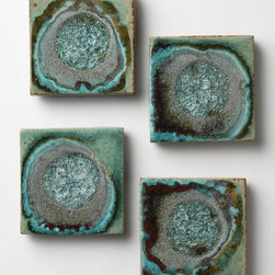 Celestial Coaster Set, Green - I have one of these coasters in my office, and I really love the raw, broken glass/rock look in the ceramic. Each coaster is unique, and the organic nature to them is so beautiful!