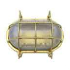 Shiplights - Large Oval Cage Light Fixture (Solid Brass, Unlacquered Brass, Exterior Fixture - Our Large Oval Cage Light is made of solid brass and can be used indoors or outdoors in a wide variety of applications.