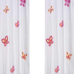 "Sweet Jojo Designs - Butterfly Pink & Orange Window Panels (Set of 2) - Create a stylish look for your child's room with the Butterfly Pink & Orange Window Panels (Set of 2).  This set features 2 Window Panels that are 42"" x 84"" each."