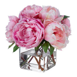 Silk Floral Arrangement, Faux Mixed Pink Peonies with Illusion Water by La Fleur - If you're like me and enjoy having flowers in your home on a continuing basis, investing in a gorgeous silk floral arrangement is the way to go.