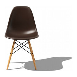 Eames Molded Plastic Dowel Leg Side Chair-DSW - Designed by Charles and Ray Eames in 1950, this version has wooden dowel legs, giving it a completely different feel from the metal Eiffel base and tubular side chair iterations.