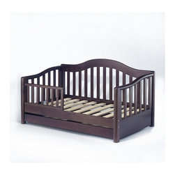 Sorelle - Sorelle Grande Solid Pine Toddler Bed in Espresso - Sorelle - Toddler Beds - 787E - Look to Sorelle Furniture for elegant toddler beds in cherry espresso and oak on pine. Sorelle toddler beds are made of solid pine wood giving the it the durability to last. They can work with a spectrum of traditional and contemporary decor themes. Toddler beds from Sorelle feature solid craftsmanship designed to meet the highest crib safety standards.Features: