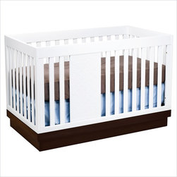 Babyletto Harlow 3-in-1 Convertible Baby Crib in Two-tone White and Espresso - Designed with the classic simplicity that babyletto has come to be known for, the Harlow has added charm with an original hand-etched panel. And the two-tiered platform is customizable; choose either a traditional espresso color or a fresher shade, like navy. The original babyletto design easily converts to a toddler bed and daybed when the time comes, so it will undoubtedly be the centerpiece of your child's room for years to come.