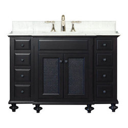 "Water Creation Inc. - London Collection 48"" Wide Single Sink Vanity - The Water Creation London Collection 48"" single sink bathroom vanity is perfect for the bathroom project that demands a striking focal point. This Espresso finished vanity features 2 doors, 8 drawers and a Carrara White Marble counter top with backsplash. The counter top is pre-drilled for 8"" wide spread lavatory faucets."