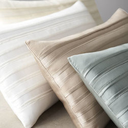 "Donna Karan Home - Donna Karan Home Lustre Pillow, 11"" x 22"" - Luxury lustre pillow has alternating rows of shiny and matte silk charmeuse with inserted chiffon detail on front and back. From Donna Karan Home. Feather/down fill. Hand wash. 11"" x 22"". Imported."